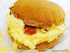 Little Beet – New York, NY gluten free breakfast sandwich - eggs, bacon, and cheese on a muffin #glutenfree #littlebeet