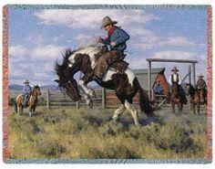 Rough Start Cowboy Bronco Horse Rider Throw Blanket or Wall Hanging