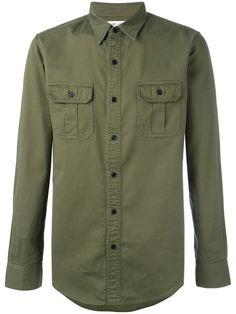 SAINT LAURENT slim fit military style shirt. #saintlaurent #cloth #셔츠