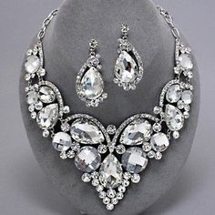 Stunning Statement Chunky Clear Sparkling Crystal Bridesmaid Bridal Necklace Set