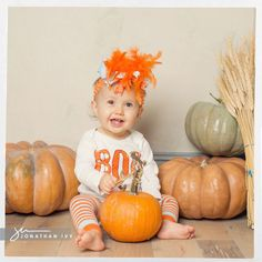 Baby Halloween Costume Idea #halloween #pumpkin #costume #headband
