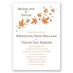 Graceful Leaves Wedding Invitation, Nature-Inspired, Classic, Simple at Invitations By Dawn  http://www.invitationsbydawn.com/Wedding-Invitations/View-All-Wedding-Invitations/2657-DWF23780-Graceful-Leaves--Invitation.pro#.U3rpIl6ac8M