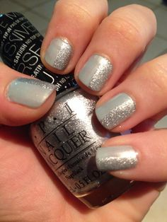 """Metallic grey half n half (OPI """"this gown needs a crown"""" & OPI """"I can't to be a-lone star"""")"""