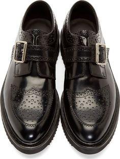 Krisvanassche Black Polished Leather Creeper Brogues