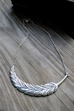 Feather Necklace - Antique Silver - Metal - Winter Fashion - Women - Teens - Boho - Gifts Under 25 - Gift