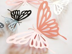 3D paper butterfly with cut outs, wall sticker, room decoration, baby nursery in shimmering white, shimmering black, and pink 20 pieces