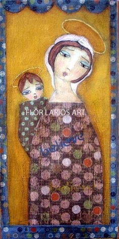 Mother and Child - Folk Art Primitive Collage Painting (3.5 x 7 inches Print) by FLOR LARIOS on Etsy $15