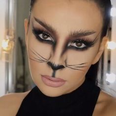 Ladies this is an awesome halloween tutorial. Seems pretty simple! Who is going to be cat woman this halloween? By @j_make_up . ❤️ tag someone who would like this!: #facepainttutorial