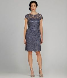 Patra Cap-Sleeve Lace Shift Dress | Dillards.com - another example of the cap sleeve with lace for the bridesmaids