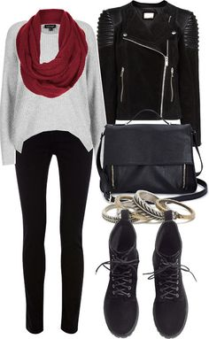 Lily Collins Inspired Outfit for Uni by lilycollinsstyle featuring a black satchel bag  Topshop ribbed sweater / Mango black biker jacket / ...