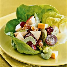 Updated Waldorf Salad  Use low-fat mayo mixed with apples, grapes, dried cranberries, celery, and walnuts for this chunky salad that renews a classic and curbs mid-afternoon hunger.    This dish delivers a serving of low-purine nuts and fruits. Plus, apples, grapes, and cranberries all contain malic acid, which may counter gout-promoting uric acid in your body.