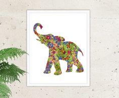 Instant Download Elephant Print Floral Elephant by ArtStudioPrint