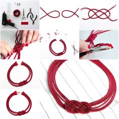 How To Make beautiful Cord Necklaces step by step DIY tutorial instructions, How to, how to do, diy instructions, crafts, do it yourself, diy website, art project ideas