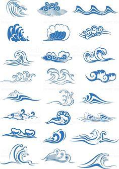 Blue ocean waves set royalty-free blue ocean waves set stok vektör sanatı & akan su'nin daha fazla görseli