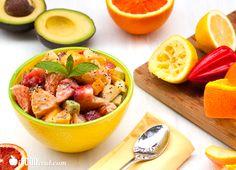 Healthy Avocado Fruit Salad with Chia Yogurt Dressing