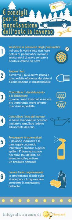 6 consigli preziosi per la manutenzione dell'auto in inverno: http://blog.chiarezza.it/manutenzione-dellauto-in-inverno-sei-consigli-utili-infografica