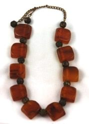 Amber Bakelite square beads mixed with roses
