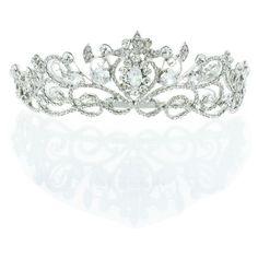 Kate Marie 'keli' Rhinestone Crown Tiara Headband in Silver ($84) ❤ liked on Polyvore featuring jewelry, tiara, accessories, crown, headbands, grey, jewelry & watches, prom crowns, rhinestone prom jewelry and silver jewellery