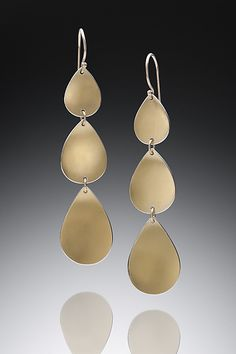 Goddess Tears Triple Drop by Thea Izzi: Gold & Silver Earrings available at www.artfulhome.com