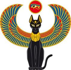 A black Egyptian Bastet cat with coloured wings. Above is a disc with the eye of Horus. Egyptian Mythology, Egyptian Symbols, Egyptian Goddess, Bastet Goddess, Isis Goddess, Egyptian Cat Tattoos, Egyptian Cats, Ankh Tattoo, Tattoo Cat