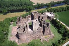 The remains of Goodrich Castle seen from above