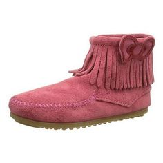 Minnetonka Moccasins 2295K - Childrens Hello Kitty Fringe Ankle Boot - Hot Pink Suede