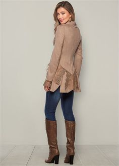 Shop women's Faux Suede And Lace Jacket in Tan from VENUS clothing online or Discover jackets & coats in trendy styles at great prices today. Fall Fashion Trends, 50 Fashion, Trendy Fashion, Plus Size Fashion, Autumn Fashion, Fashion Outfits, Ladies Fashion, Fashion Brands, High Fashion
