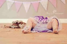 "I love this one best BUT I wouldn't do this angle on a little girl...other than that, this is a great ""cake smash"" pic for a 1st bday!"