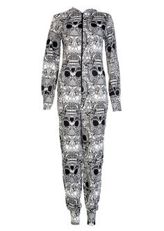 Allover Skulls Onesie - Womens Clothing Sale, Womens Fashion, Cheap Clothes Online | Miss Rebel