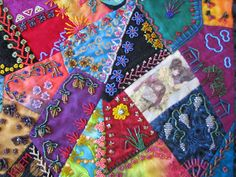 """Crazy Stitcher: """"Cat's and Geisha"""" Crazy Quilt Moving To California, Crazy Quilting, Some Pictures, Geisha, Embellishments, Quilts, Cats, Ideas, Ornaments"""