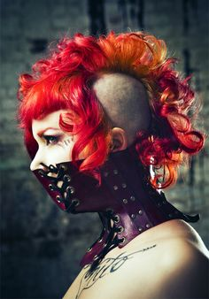 red curls and fancied leather
