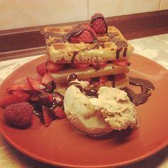 Waffles, Strawberries, Caramel Ice and chocolate sauce... Yum!