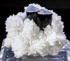 Twin Schorl / Black Tourmaline Crystals on Albite Mineral Specimen - Pakistan
