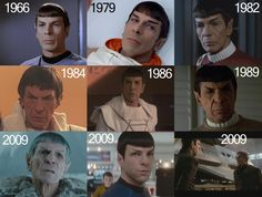 The same as the Leonard McCoy one, but Spock Prime and Spock 2009 instead. Spock through the Years Watch Star Trek, Star Trek Tv, Star Wars, Star Trek Movies, Star Trek Ships, Akira, Star Trek 2009, Star Trek Original Series, Star Trek Characters