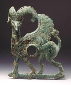 Iranian                                Cheekpiece in the form of a winged mouflon, ca. 1000 – 750 B.C.                Bronze
