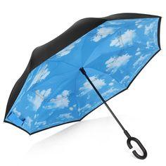 foldable Umbrella Custom Winter Night Train Light Snow Compact Travel Windproof Rainproof