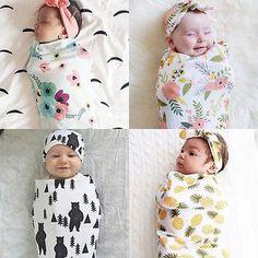 df02ef45ce Newborn Swaddle Blanket and Knot Headband Set