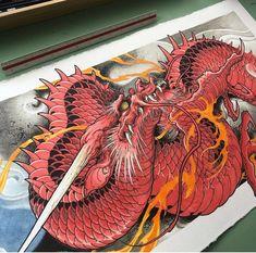 Japanese Dragon Tattoos, Japanese Tattoo Art, Japanese Tattoo Designs, Japanese Art, Japan Tattoo Design, Tattoo Design Drawings, Asian Tattoos, Arabic Tattoos, Dragon Sleeve Tattoos