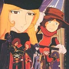 Adieu Galaxy Express 999 (movie): Two years after the events in Galaxy Express 999, Earth has become a battleground. Tetsuro, older and fighting the Machine People, rejoins Maetel aboard the GE999.