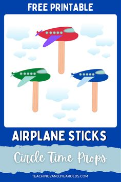 These printable airplane circle time props are a fun way to get toddlers and preschoolers engaged. Perfect for the transportation theme! #transportation #theme #airplane #printable #circletime #prop #toddlers #preschool #teachers #classroom #2yearolds #3yearolds #teaching2and3yearolds Transportation Theme For Toddlers, Transportation Preschool Activities, Transportation Theme Preschool, Airplane Activities, Infant Activities, Activities For Kids, Preschool Teachers, Toddler Preschool, Preschool Art