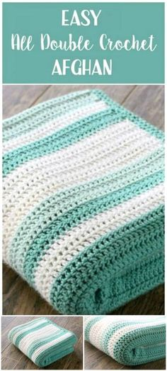 How To Easy Free Crochet All Double Afghan Pattern #CrochetAfghan