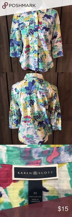 Karen Scott Button Down Blouse Karen Scott button down blouse. Size medium. 100% cotton. Karen Scott Tops Button Down Shirts