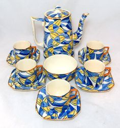 Art deco eye candy... Art Deco Coffee Set Rare Barker Bros Royal Blue Yellow by keepsies, £75.00