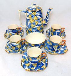 Art Deco Coffee Set Rare Barker Bros Royal Blue Yellow
