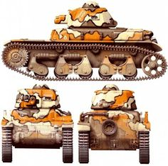 Char léger Modèle 1935 R or R 35  - Great camouflage on this French tank. I don't like that short barreled gun much.