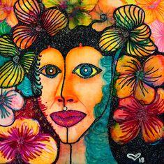 Mini Paintings, Original Paintings, Original Art, Watercolor Portraits, Watercolor And Ink, Glitter On Canvas, Female Portrait, Woman Portrait, Woman Painting