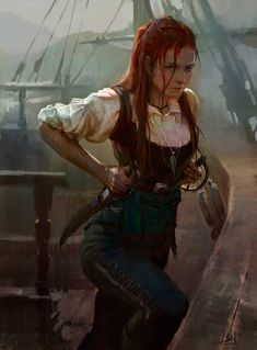 "f Rogue Thief Pirate Rapier Dagger ship sea coastal docks urban city island midlvl spassundspiele: ""Fantasy character concept by Song Nan Li "" Fantasy Warrior, Fantasy Rpg, Fantasy Women, Fantasy Girl, Fantasy Artwork, Woman Warrior, Dnd Characters, Fantasy Characters, Female Characters"
