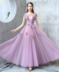 Purple round neck tulle long prom dress, purple