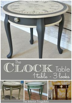 A side table with an identity crisis! Makeover #3 - A Vintage Clock Face with French typography.