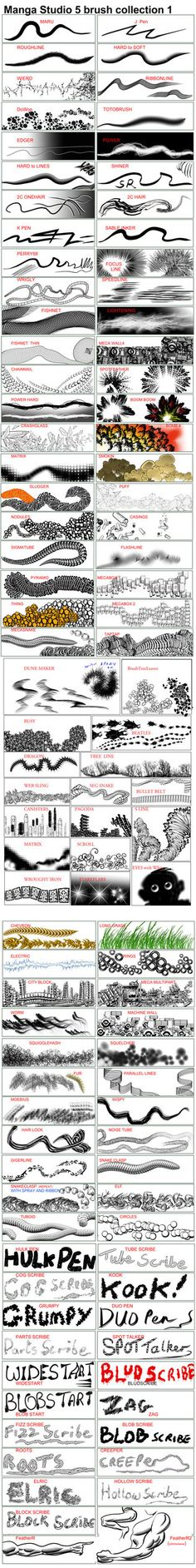 Manga Studio v5 Brushes and Actions - collection 1 by 888toto - http://888toto.deviantart.com/art/Manga-Studio-v5-Brushes-and-Actions-collection-1-398466313
